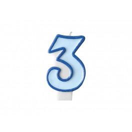 Svíčka narozeninová číslice 3 modrá
