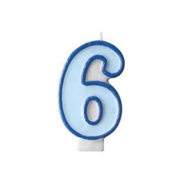 Svíčka narozeninová číslice 6 modrá