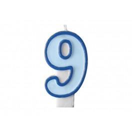 Svíčka narozeninová číslice 9 modrá