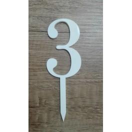 Číslice č.3 - bílá