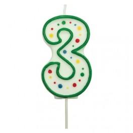 Svíčka číslo PME - Zelená 3