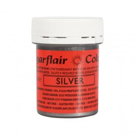 Sugarflair tekutá glitterová barva Silver 35g