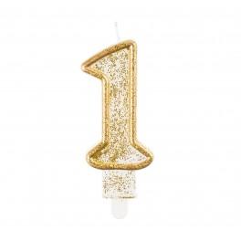 """Svíčka narozeninová číslice """"1"""" zlatá"""