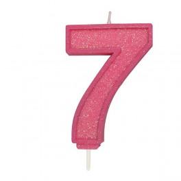 Svíčka číslo 7 - růžová třpytivá