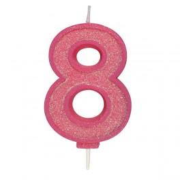 Svíčka číslo 8 - růžová třpytivá