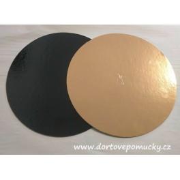 Zlato-černá dortová podložka 26cm 1,5mm