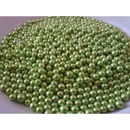 Zelené metalické kuličky cukrová dekorace 100g